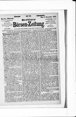 Berliner Börsen-Zeitung vom 03.12.1873