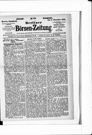 Berliner Börsen-Zeitung vom 06.12.1873