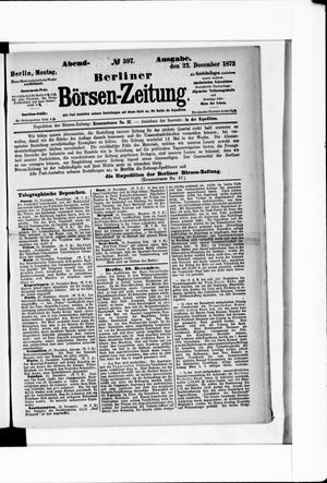 Berliner Börsen-Zeitung vom 22.12.1873