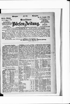Berliner Börsen-Zeitung vom 24.12.1873