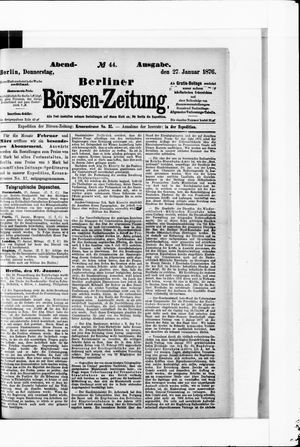 Berliner Börsen-Zeitung vom 27.01.1876