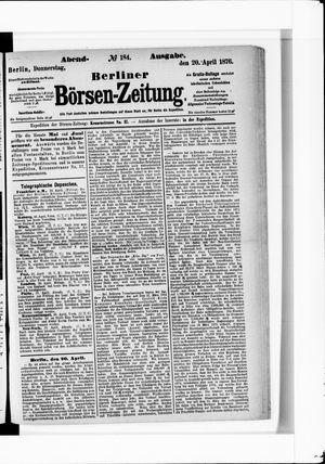 Berliner Börsen-Zeitung vom 20.04.1876