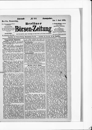 Berliner Börsen-Zeitung vom 01.06.1876