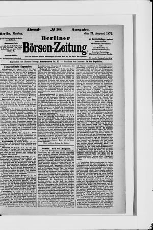 Berliner Börsen-Zeitung vom 21.08.1876