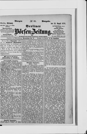 Berliner Börsen-Zeitung vom 23.08.1876