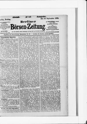Berliner Börsen-Zeitung vom 22.09.1876