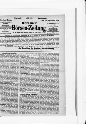 Berliner Börsen-Zeitung vom 25.09.1876