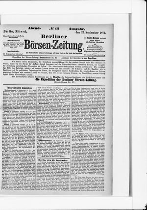 Berliner Börsen-Zeitung vom 27.09.1876