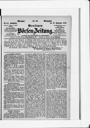 Berliner Börsen-Zeitung vom 30.09.1876