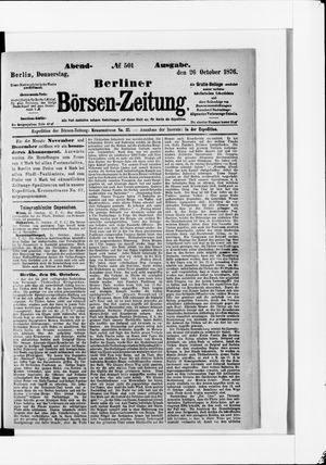 Berliner Börsen-Zeitung vom 26.10.1876