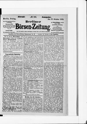 Berliner Börsen-Zeitung vom 27.10.1876