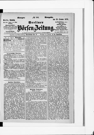 Berliner Börsen-Zeitung vom 29.10.1876