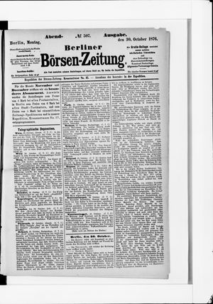 Berliner Börsen-Zeitung vom 30.10.1876