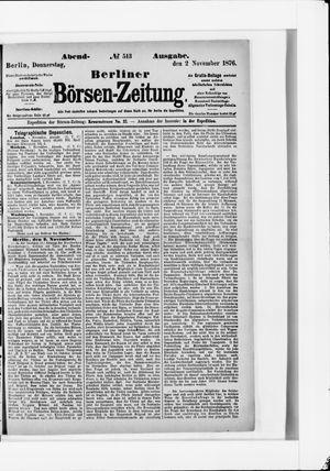 Berliner Börsen-Zeitung vom 02.11.1876