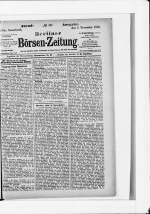 Berliner Börsen-Zeitung vom 04.11.1876