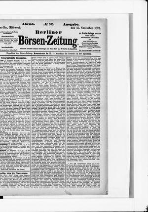 Berliner Börsen-Zeitung vom 15.11.1876