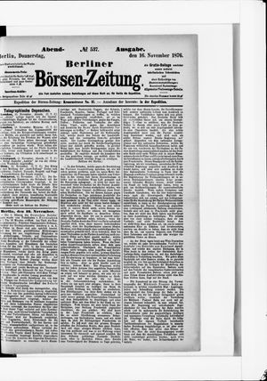 Berliner Börsen-Zeitung vom 16.11.1876