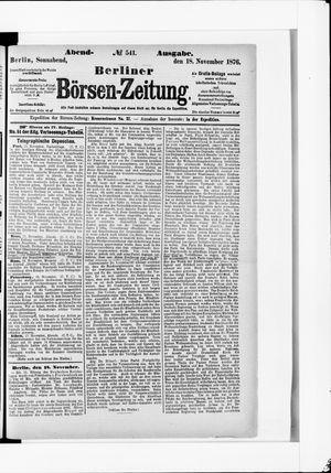 Berliner Börsen-Zeitung vom 18.11.1876