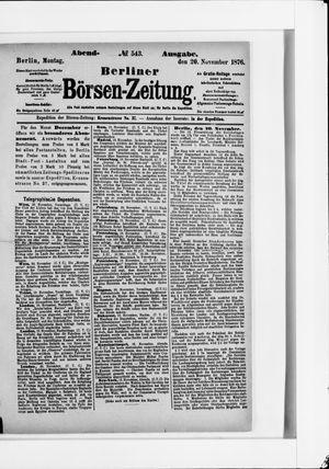 Berliner Börsen-Zeitung vom 20.11.1876