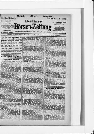 Berliner Börsen-Zeitung vom 22.11.1876