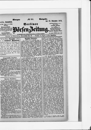 Berliner Börsen-Zeitung vom 25.11.1876