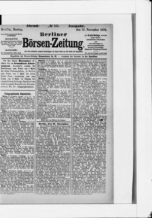 Berliner Börsen-Zeitung vom 27.11.1876