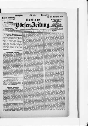 Berliner Börsen-Zeitung vom 30.11.1876