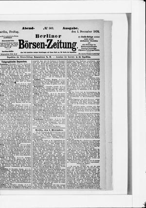 Berliner Börsen-Zeitung vom 01.12.1876