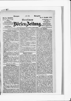 Berliner Börsen-Zeitung vom 09.12.1876