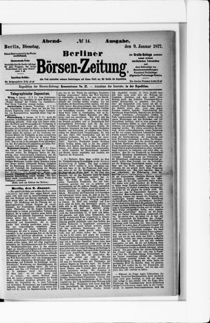 Berliner Börsen-Zeitung vom 09.01.1877