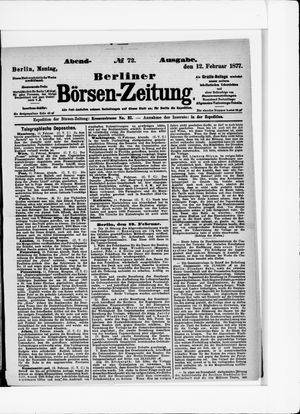 Berliner Börsen-Zeitung vom 12.02.1877