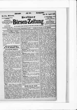 Berliner Börsen-Zeitung vom 18.04.1877