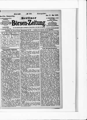 Berliner Börsen-Zeitung vom 17.05.1877