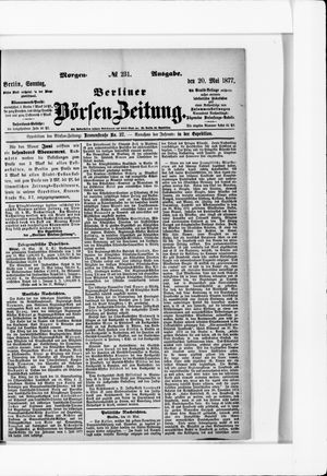 Berliner Börsen-Zeitung vom 20.05.1877