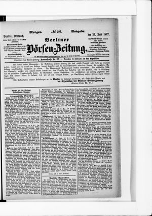 Berliner Börsen-Zeitung vom 27.06.1877