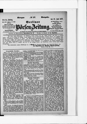 Berliner Börsen-Zeitung vom 29.06.1877