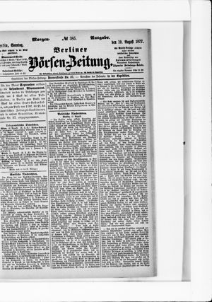 Berliner Börsen-Zeitung vom 19.08.1877