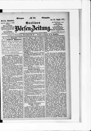 Berliner Börsen-Zeitung vom 25.08.1877