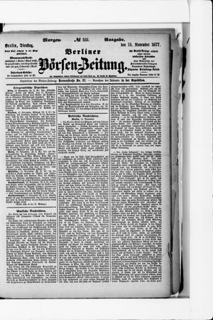 Berliner Börsen-Zeitung vom 13.11.1877