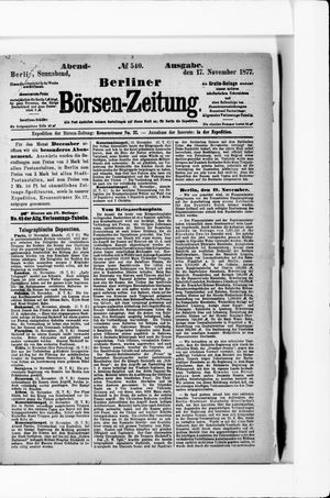 Berliner Börsen-Zeitung vom 17.11.1877