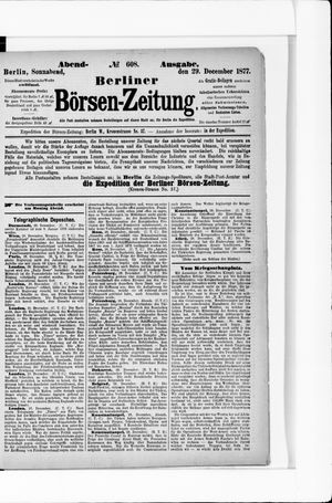 Berliner Börsen-Zeitung vom 29.12.1877