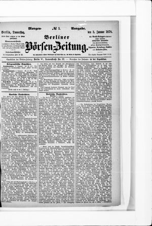 Berliner Börsen-Zeitung vom 03.01.1878