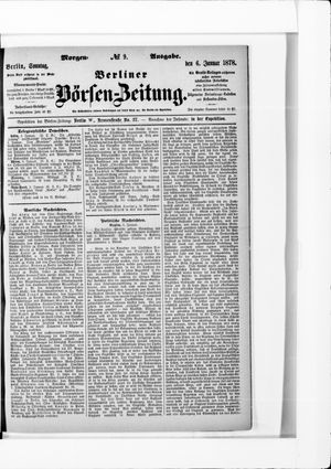 Berliner Börsen-Zeitung vom 06.01.1878