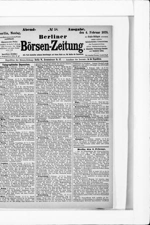 Berliner Börsen-Zeitung vom 04.02.1878