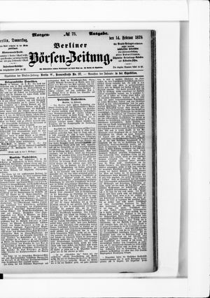 Berliner Börsen-Zeitung vom 14.02.1878