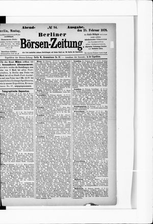 Berliner Börsen-Zeitung vom 25.02.1878