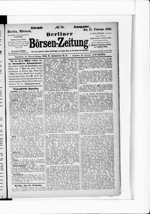 Berliner Börsen-Zeitung vom 27.02.1878