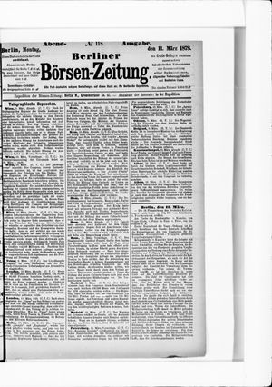 Berliner Börsen-Zeitung vom 11.03.1878