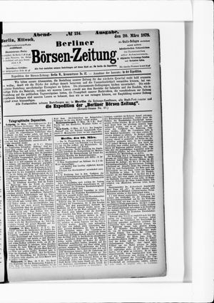 Berliner Börsen-Zeitung vom 20.03.1878