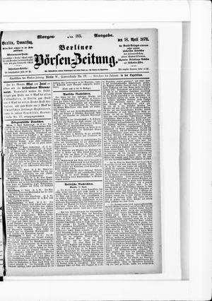 Berliner Börsen-Zeitung vom 18.04.1878